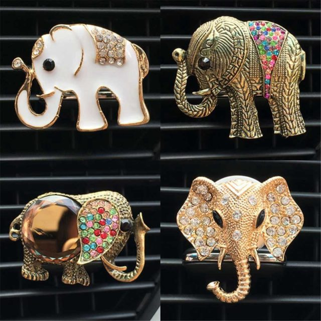 Cute Crystal Elephant Car Perfume Clip