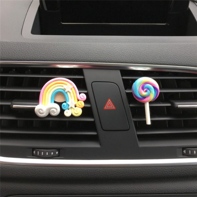 Car Rainbow Air Freshener Cute Air Outlet Ornament for Lady Girl Auto Perfume Car Accessory Styling Solid Fragrance Wholesale