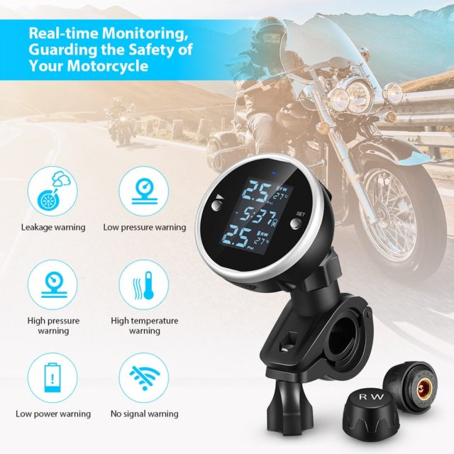 ZEEPIN C150 Tire Pressure Monitoring System Motorcycle TPMS Real-time Tester LCD Screen with 2 External Sensors