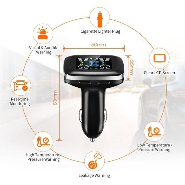 TPMS LCD Wireless Car Tire Pressure Monitoring System with External Sensor Kit