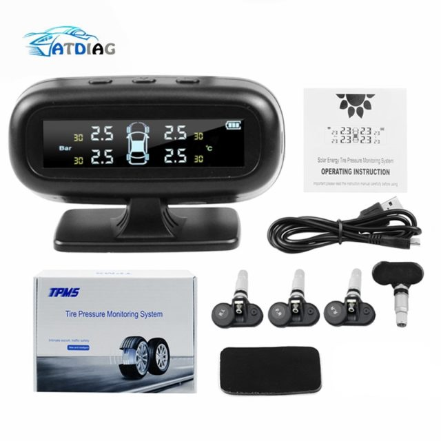 Digital LCD Display Tire Pressure Monitoring System – Solar Energy Smart Car TPMS Auto Security Alarm Systems