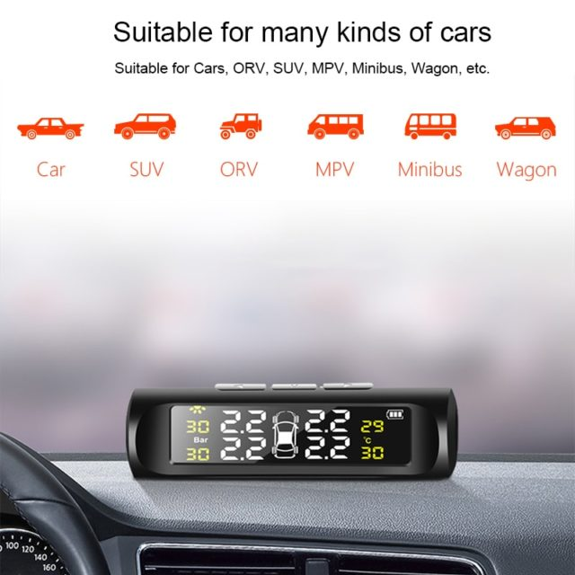Solar Power Tyre Pressure Monitoring System – Digital Display Auto Security Alarm Systems Car
