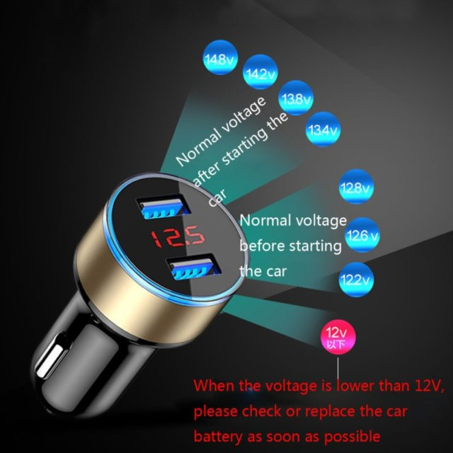 Mini Fast Charger Dual USB Car Phone Charger 5V 3.1A With LED Display Universal Phone Charger for iPhone Samsung Xiaomi