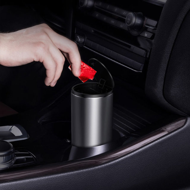 Metal Car Trash Can Organizer Garbage Holder With Lid Automobiles Storage Bag Auto Door Seat Back Visor Trash Bin Paper Dustbin