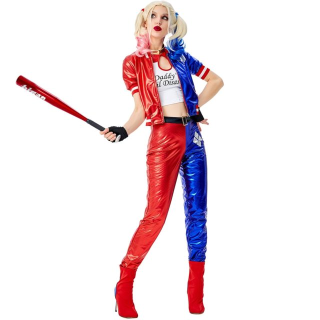 Echoine Deluxe Harley Quinn Costume Cosplay Adult Halloween Costume For Women Superhero Costume For Adult Carnival Party Suit
