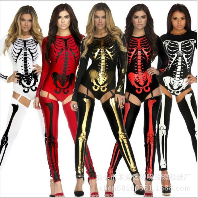 Halloween Cosplay Costumes Women Scary Horror Skeleton Clothing Nightclub DS Suit Sexy Jumpsuit Bodysuit Gothic Zombie Dress