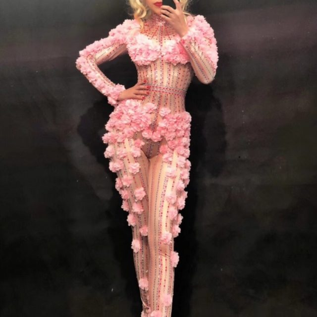 new Sexy Dj Pink Flower Crystals Bodysuit Costume Evening Jumpsuit Celebrate Party Wear Singer Stage Performance gogo costumes