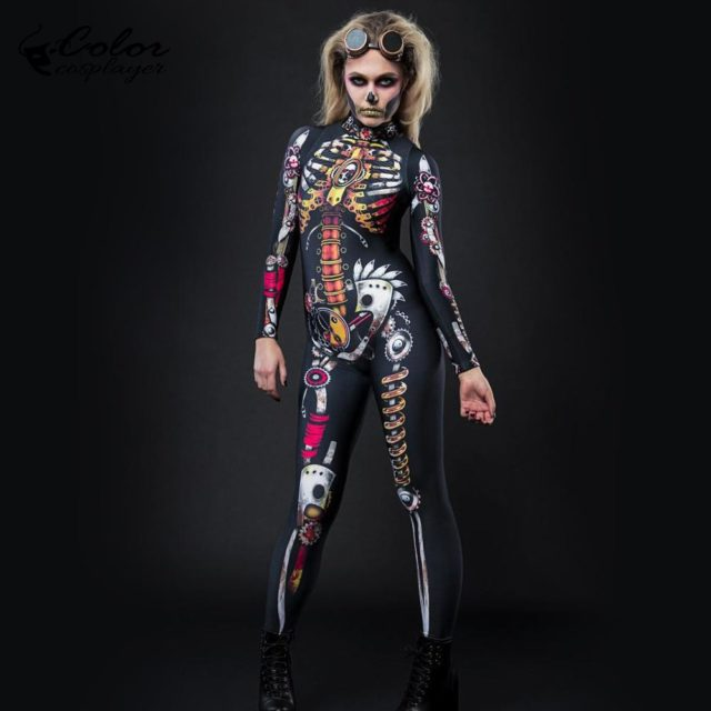 Color Cosplayer Steampunk Skeleton Bodysuit Skull Purim Festival Cosplay Costume Halloween Tight For Woman Cadre Suits