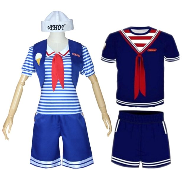 4pcs Stranger Things 3 Cosplay Scoops Ahoy Robin Steve Costume Adult Sailor Uniform Suit T Shirt Shorts Hat Halloween Outfits
