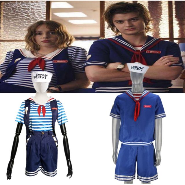 Scoops Ahoy Costume Stranger Things Cosplay Costume Robin Steve Harrington Scoops Ahoy Sailor Uniform Outfits Set