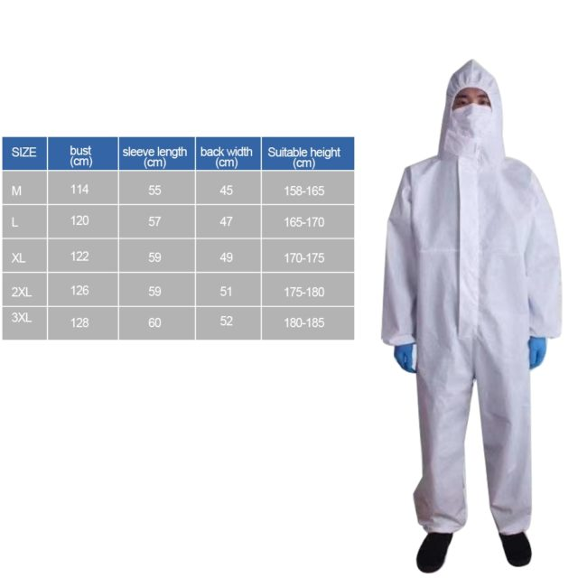 Safe Protective Clothing Disposable Coverall Self Isolation Gown Plastic Closures Isolation Suit Protective Clothing