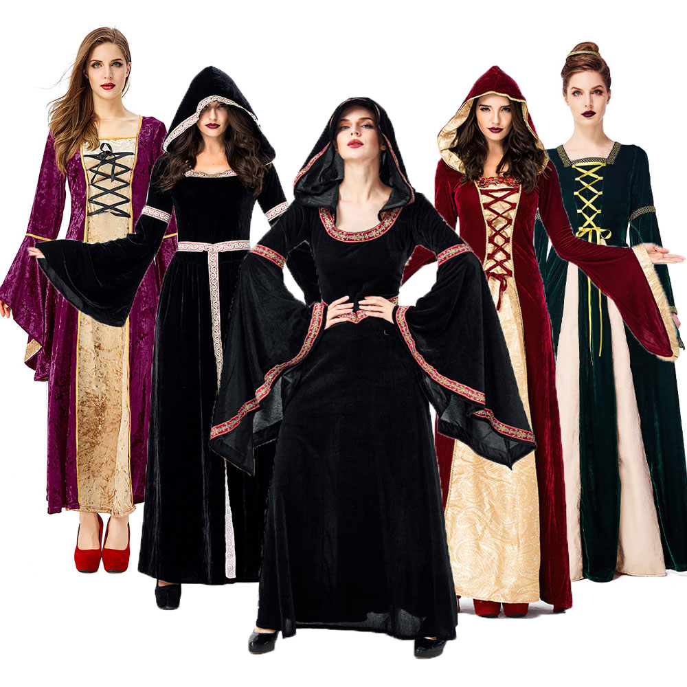 Fantasia Adult Women Renaissance Medieval Dress Sorceress Costumes Halloween Purim Carnival Party Gothic Velvet Gown Why Not Online Shop